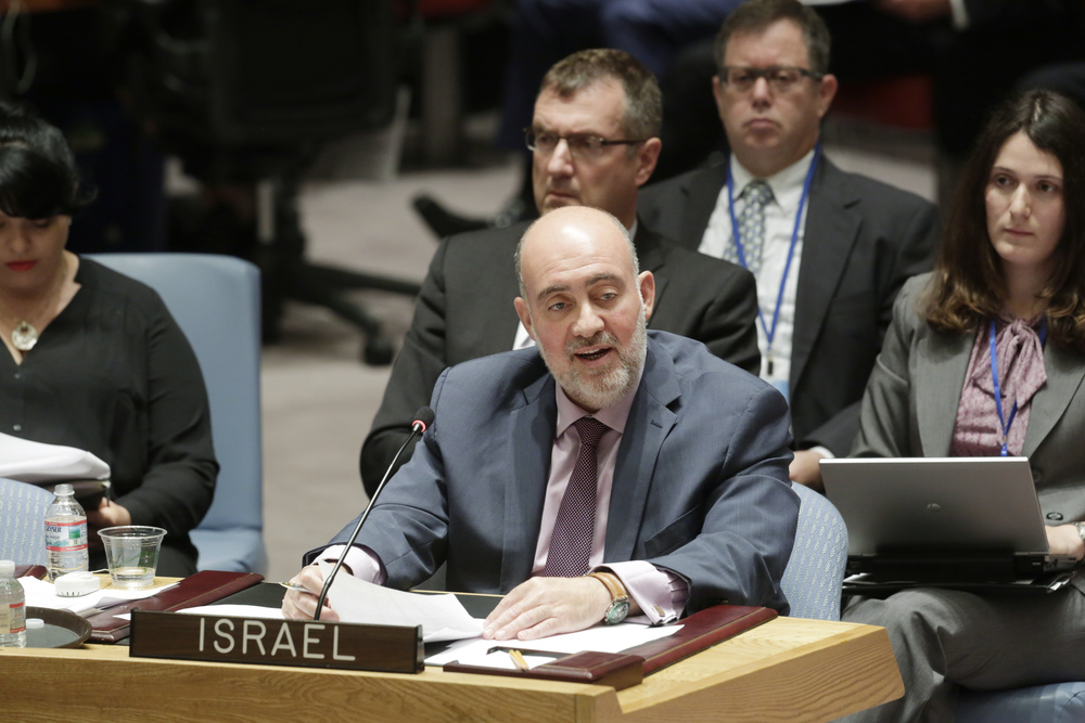 "Click photo to download. Caption: Israeli Ambassador to the U.N. Ron Prosor, pictured here addressing a U.N. Security Council meeting about the Israel-Hamas war on July 10, says the ""discrimination"" of  the U.N. recognizing Christian and Muslim holidays but not the Jewish holiday of Yom Kippur ""must end."" Credit: UN Photo/Evan Schneider."