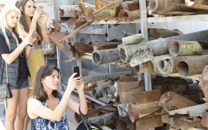 American beauty pageant winners view remnants of Gaza rockets in Sderot. Credit: Provided photo.