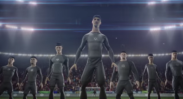 Click photo to download. Caption: Nike maintains that the logo of the clones' uniforms in the pictured promotional video was only intended to be a soccer ball, but critics say it is virtually identical to a Star of David. Credit: YouTube screenshot.