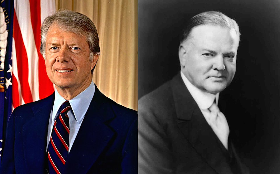 Click photo to download. Caption: Ex-presidents Jimmy Carter (left) and Herbert Hoover. Credit: Department of Defense and Library of Congress.