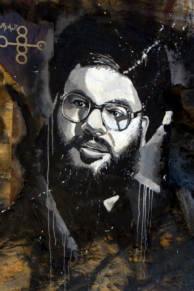 Graffiti image of Hezbollah leader Hassan Nasrallah. Credit: Wikimedia Commons.