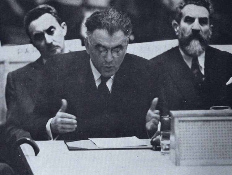 "Click photo to download. Caption: Rabbi Abba Hillel Silver (pictured here addressing the United Nations in 1947) backed a form of a boycott on the British when he said that in view of England's ""shocking record of broken pledges"" regarding the Mandate of Palestine, the U.S. could not afford ""to make a loan to a government whose pledged word seems to be worthless."""