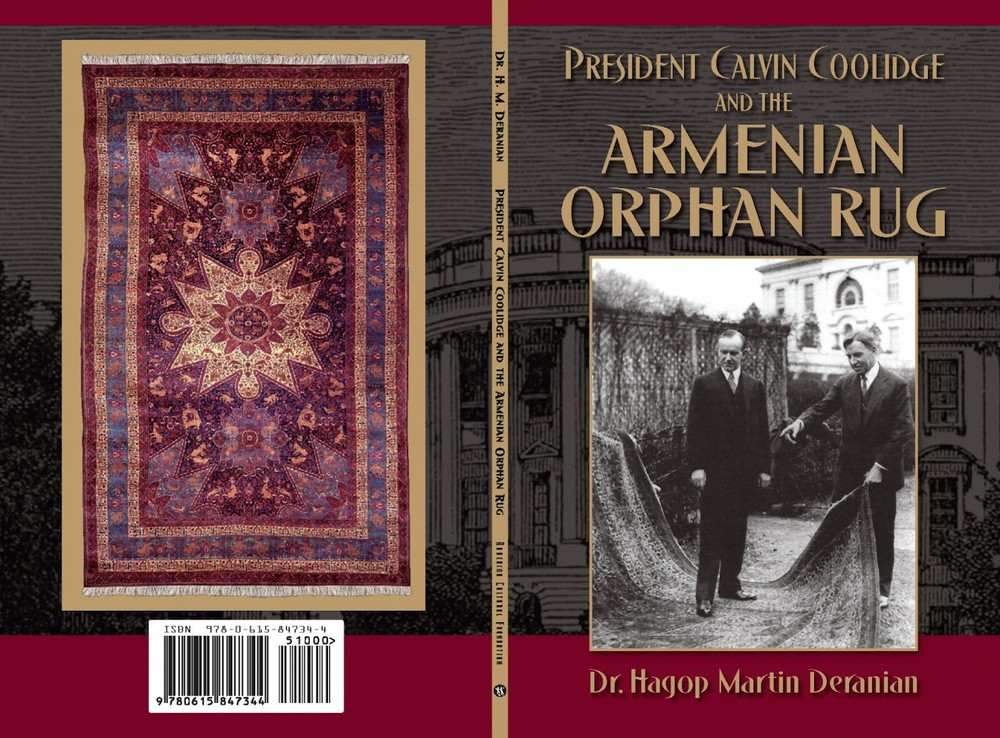 "Click photo to download. Caption: The front and back covers of ""President Calvin Coolidge and the Armenian Orphan Rug,"" by Dr. Hagop Martin Deranian. Credit: Armenian Cultural Foundation."