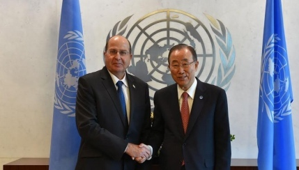 Moshe Ya'alon and Ban Ki-moon meet Monday. Credit: Defense Ministry / Ariel Hermoni.