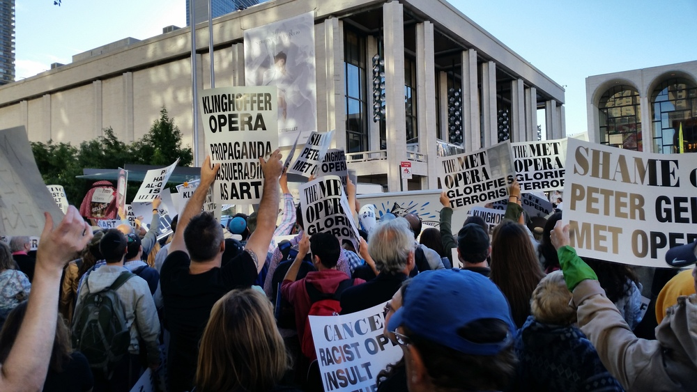 "Click photo to download. Caption: On Sept. 22, 2014, demonstrators protest the New York Metropolitan Opera's production of the anti-Israel opera ""The Death of Klinghoffer."" Credit: Amelia Katzen."