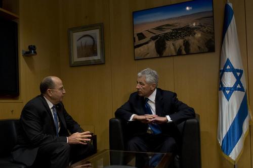 Secretary of Defense Chuck Hagel (right) meets with Israeli Minister of Defense Moshe Ya'alon in Tel Aviv on April 22, 2013. Credit: Secretary of Defense.