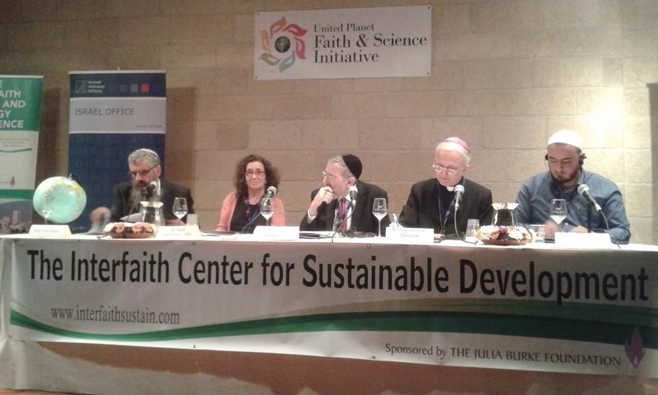 A panel discussion at the Faith and Ecology Conference in Jerusalem, which drew Jewish, Christian, and Muslim participants on Wednesday. Credit: The Interfaith Center for Sustainable Development.
