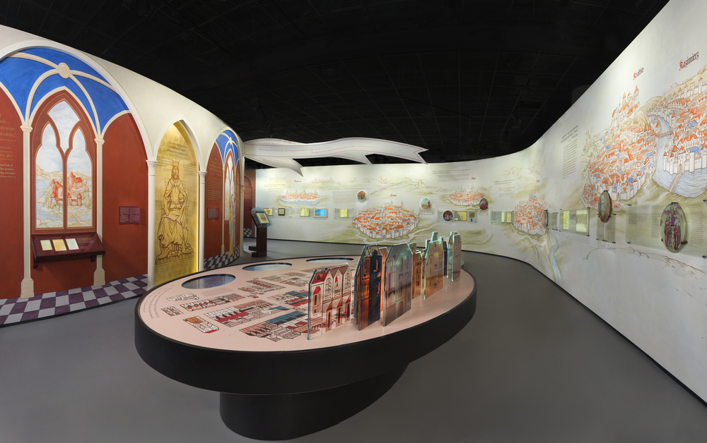 "Click photo to download. Caption: A portion of the ""First Encounters"" gallery within the core exhibition of the new POLIN Museum of the History of Polish Jews. Credit: Photo courtesy of M. STAROWIEYSKA, D.GOLIK/POLIN Museum of the History of Polish Jews."