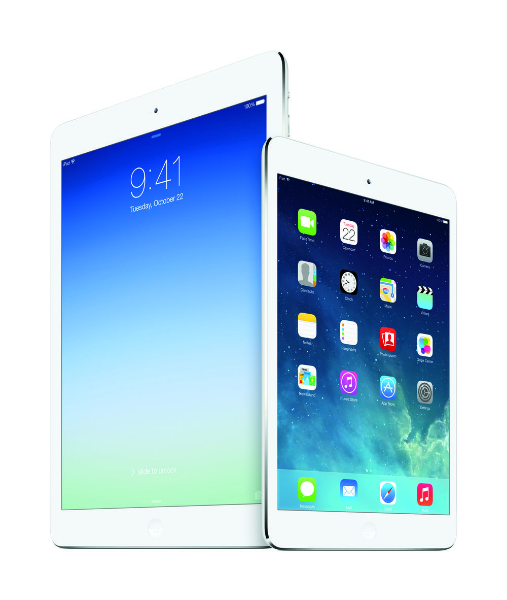 The iPad Air and the iPad Mini. Credit: Apple.