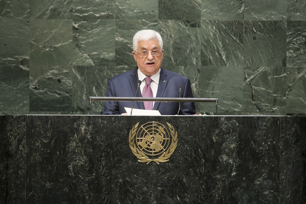 Click photo to download. Caption: Palestinian Authority President Mahmoud Abbas addresses the U.N. General Assembly on Sept. 26. Credit: UN Photo/Amanda Voisard.