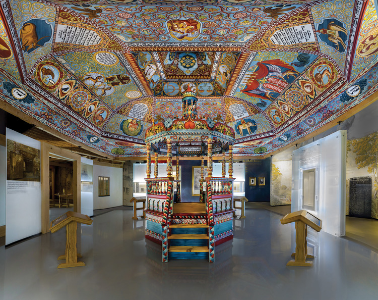 "A wooden synagogue that is part of ""The Jewish Town"" gallery within the core exhibition of the new POLIN Museum of the History of Polish Jews. Credit: Photo courtesy of M. STAROWIEYSKA, D.GOLIK/POLIN Museum of the History of Polish Jews."