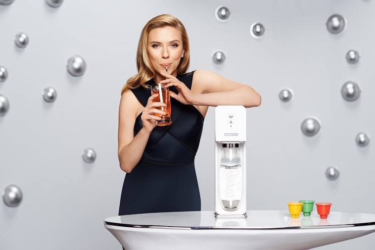 Scarlett Johansson as the pitch woman for SodaStream. Credit: SodaStream Facebook page.