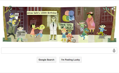 The Google Doodle honoring Jonas Salk. Credit: Google.com screenshot.