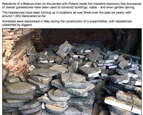 A screenshot of the Daily Mail report on Jewish gravestones in Belarus. Credit: Daily Mail screenshot.