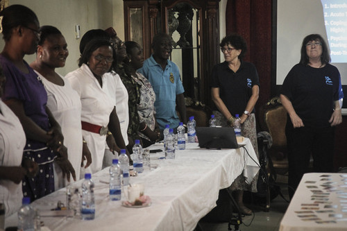 Click photo to download. Caption: IsraAID (workers pictured at right) provides training in Sierra Leone amid the Ebola crisis. Credit: IsraAID.