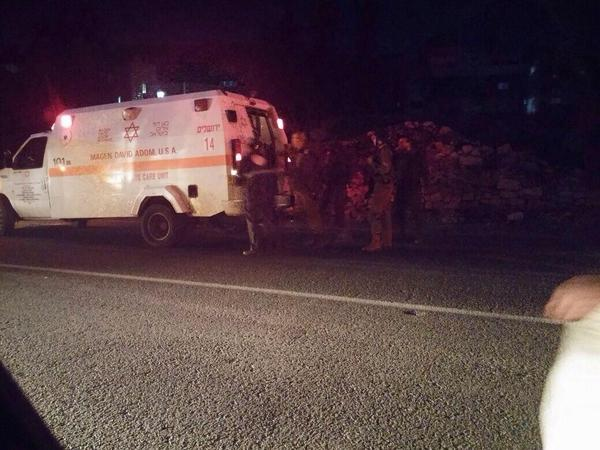 Magen David Adom responds to the incident in which a car hit three IDF soldiers near Gush Etzion. Credit: Twitter.