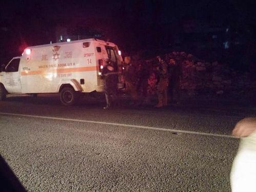 Magen David Adom responds to a vehicular attack on IDF soldiers near Gush Etzion. Credit: Twitter.