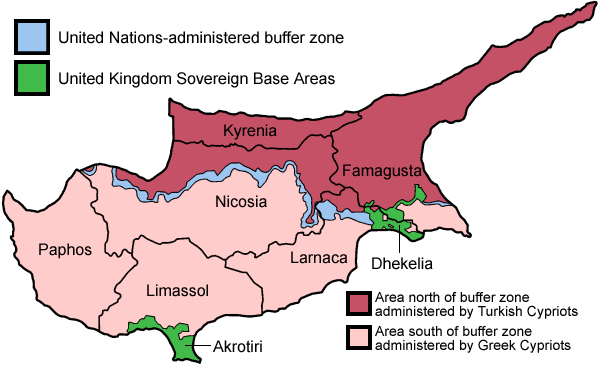 Cyprus has been split into a Greek and Turkish side since 1974. Credit: Wikimedia Commons.