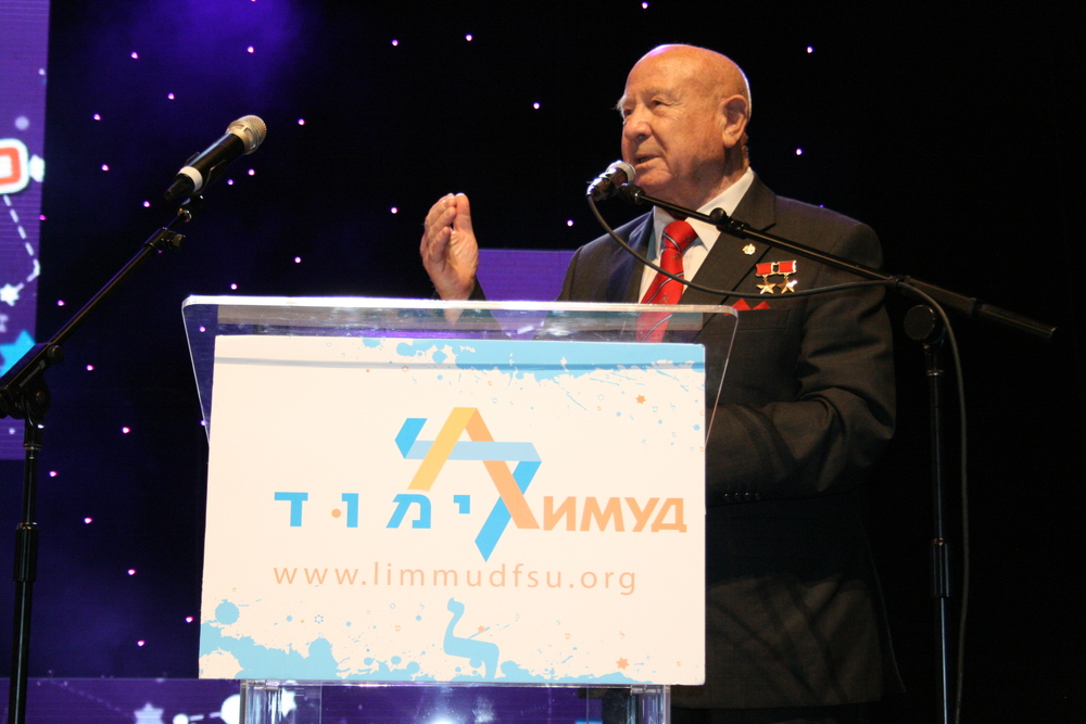 Click photo to download. Caption: Alexei Leonov, a former Russian cosmonaut, addresses a Limmud FSU conference in Be'er Sheva, Israel. Credit: Limmud FSU.
