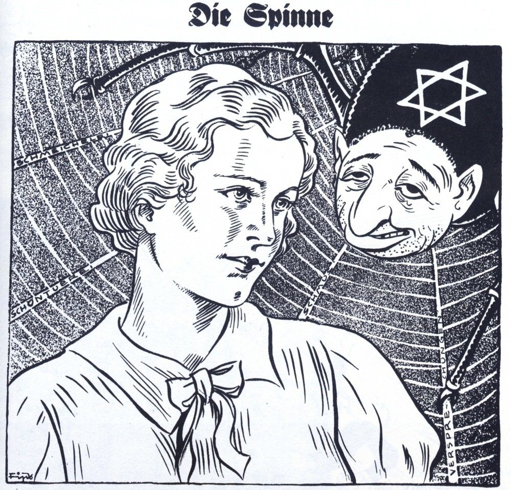 Click photo to download. Caption: An anti-Semitic cartoon by the Nazi newspaper Der Sturmer. Credit: Courtesy of The David S. Wyman Institute for Holocaust Studies.