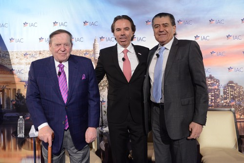 From left to right, Sheldon Adelson, Israeli-American Council (IAC) Chairman Shawn Evenhaim, and Haim Saban on stage at the IAC national conference on Sunday in Washington, DC. Credit: Shahar Azran.