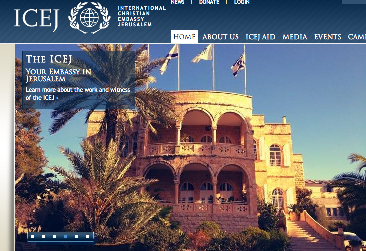 The homepage of the  International Christian Embassy Jerusalem website. Credit: ICEJ.
