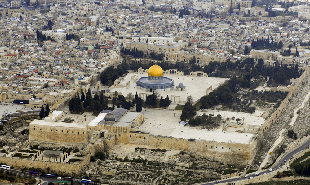 Click photo to download. Caption: An aerial view of the Temple Mount in Jerusalem. Credit: Godot13 via Wikimedia Commons.