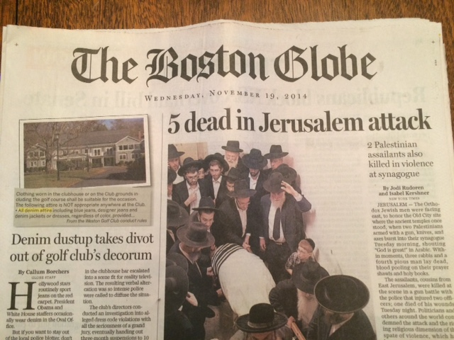 The Nov. 19 Boston Globe front page
