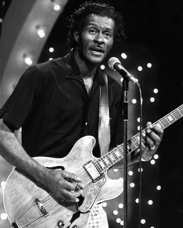 "Click photo to download. Caption: Chuck Berry perform on the ""Midnight Special"" television program in 1973. Credit: NBC Television - eBay via Wikimedia Commons."