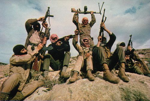 Click photo to download. Caption: In 1969, members of the Popular Front for the Liberation of Palestine (PFLP) terror group are pictured flaunting their weapons in the mountains east of the Jordan River. Eclipsed in recent decades by the other Palestinian factions of Fatah and Hamas, the PFLP returned to the scene with a vengeance on Nov. 18 through its members' bloody attack on a Jerusalem synagogue. Credit: Thomas R. Koeniges via Wikimedia Commons.