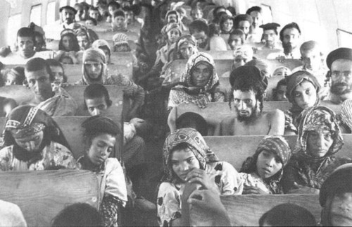Many Yemenite Jews have immigrated to Israel (seen here en route during the first half of the twentieth century). Credit: Wikimedia Commons.