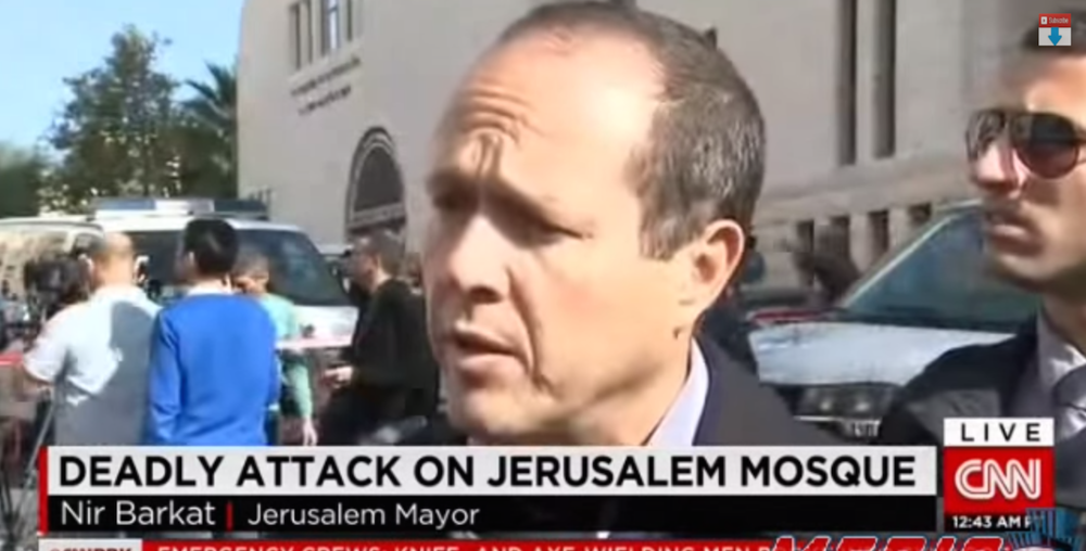 "CNN's initial report on the Nov. 18 terrorist attack on a Jerusalem synagogue, which mislabeled the location of the attack as a ""mosque,"" falsely implying that Jews had perpetrated violence against Muslims. Credit: Screenshot from the Jerusalem Post."