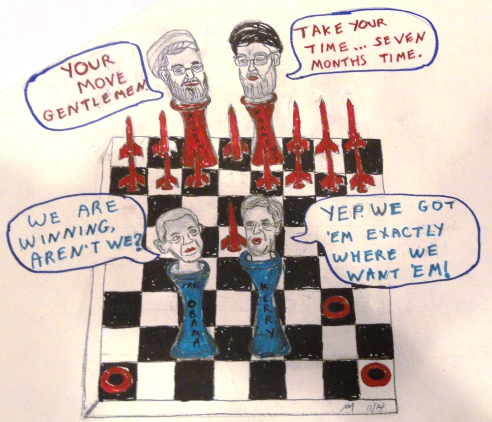 """International Chess Chumpionship,"" a cartoon on Iran nuclear negotiations, which have been extended until June 30, 2015. Credit: Nathan Moskowitz."