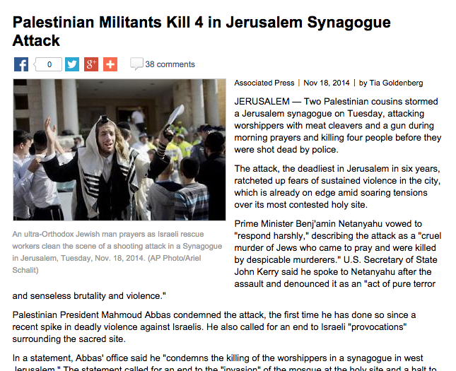 "Click photo to download. Caption: An Associated Press story on the Nov. 18 synagogue attack in Jerusalem whose headline refers to Palestinian terrorists as ""militants."" Credit: Military.com screenshot."