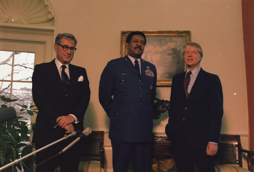 "Click photo to download. Caption: Former American defense secretary Harold Brown (pictured at left, next to Gen. Daniel ""Chappie"" James and President Jimmy Carter) eventually learned and accepted that idealism needs to be tempered by the reality of experience. The 800 Israelis (led by prominent intellectuals) who are demanding European recognition of a Palestinian state could use the same lesson, writes Abraham H. Miller. Credit: National Archives and Records Administration."