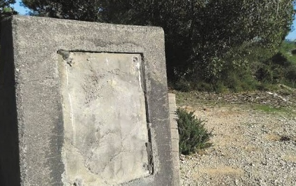 The defaced Holocaust memorial in the Jerusalem hills. Credit: Shaar Hagai Field School.