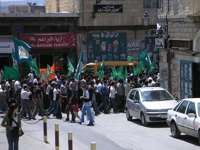 Click photo to download. Caption: A rally in Bethlehem in support of the Palestinian terrorist group Hamas. Credit: Soman via Wikimedia Commons.
