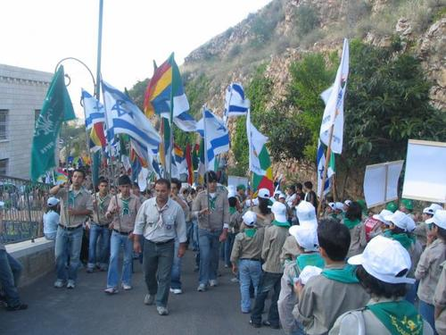 Druze youth scouts hold a parade at Jethro's grave, the Druze people's holy place. Credit: PikiWiki Israel.