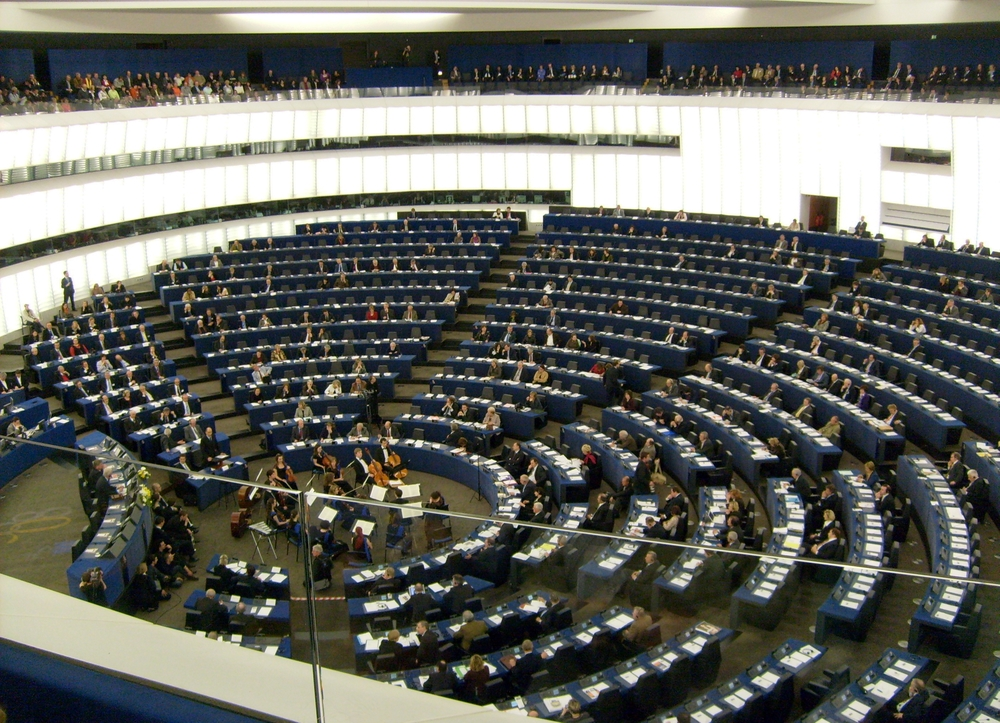 The European Parliament chamber in Strasbourg, France. Credit: Wikimedia Commons.