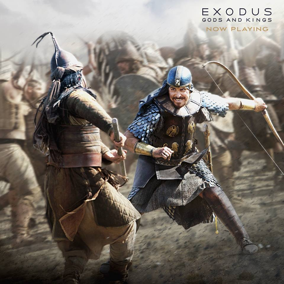 "Click photo to download. Caption: Christian Bale as Moses in a battle scene in ""Exodus: Gods and Kings."" Credit: 20th Century Fox."