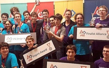 The winning Israeli team at the FIRST Tech Challenge robotics competition. Credit: Reuven Stahl.
