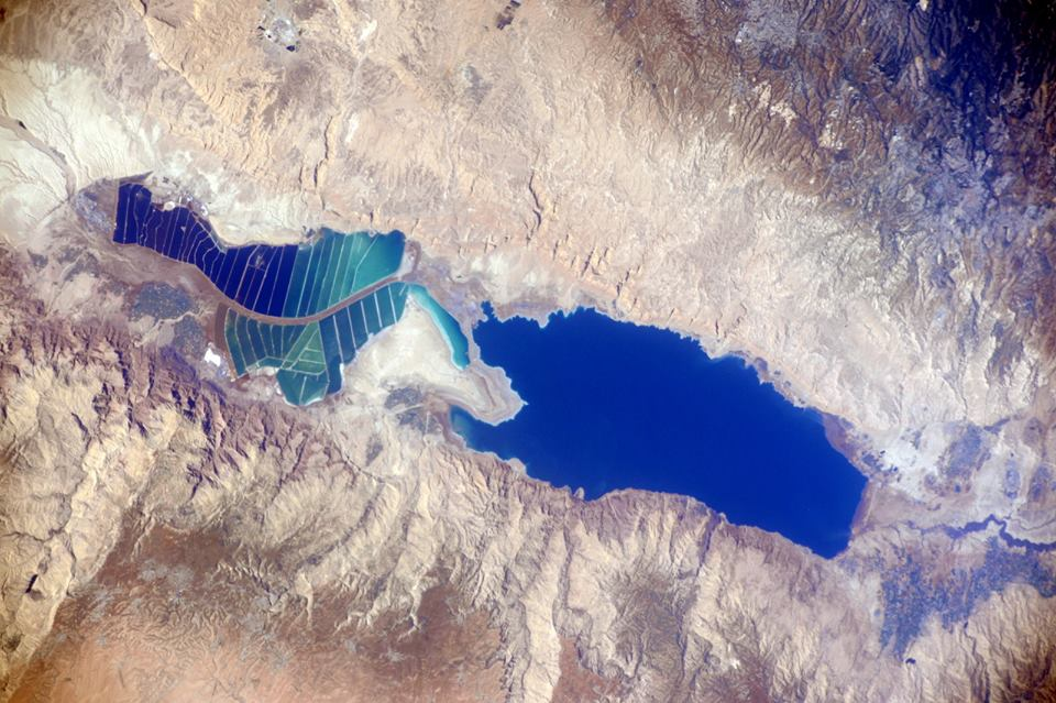 A new photo taken from the International Space Station that shows the shrinking Dead Sea. Credit: Barry Wilmore/International Space Station Facebook page.