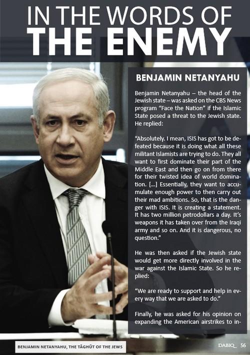 Prime Minister Benjamin Netanyahu in Islamic State'sDabiqmagazine. Credit:Dabiq.
