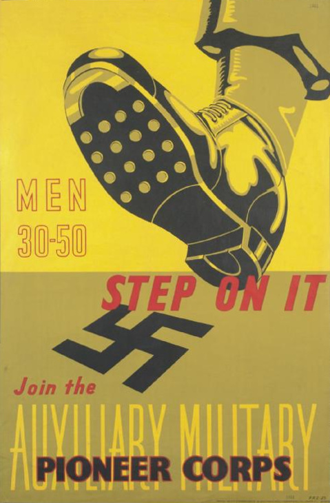 Click photo to download. Caption: A recruitment poster for the  Auxiliary Military Pioneer Corps (AMPC). Credit:  Frederick George Alfred Scott via Wikimedia Commons.
