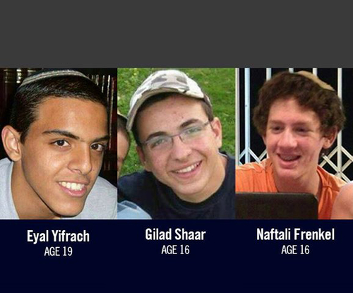 The murdered Israeli teens Eyal Yifrach, Gil-Ad Shaer and Naftali Frenkel. Credit: IDF.