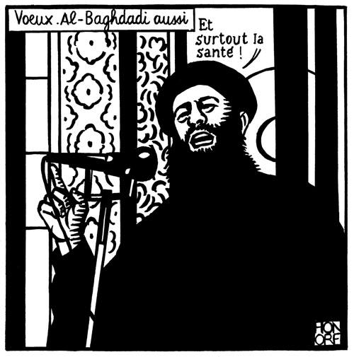 Click photo to download. Caption: This depiction of the Islamic State terrorist group's leader, Abu Bakr al-Baghdadi, was the latest cartoon by Charlie Hebdo before the Jan. 7 attack on its offices in Paris. Credit: Charlie Hebdo via Facebook.