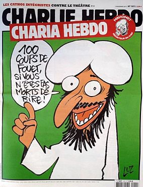 "Click photo to download. Caption: The Nov. 3, 2011 cover of  Charlie Hebdo  that renamed the magazine  Charia Hebdo , a play on Islam's Sharia Law. The speech bubble reads, "" 100 lashes if you don't die of laughter!"" Credit:  Charlie Hebdo  via Wikimedia Commons."