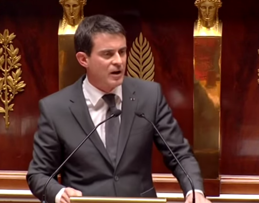Click photo to download. Caption: French Prime Minister Manuel Valls gives an impassioned speech against anti-Semitism on Jan. 13 before France's National Assembly. Credit: YouTube screenshot.