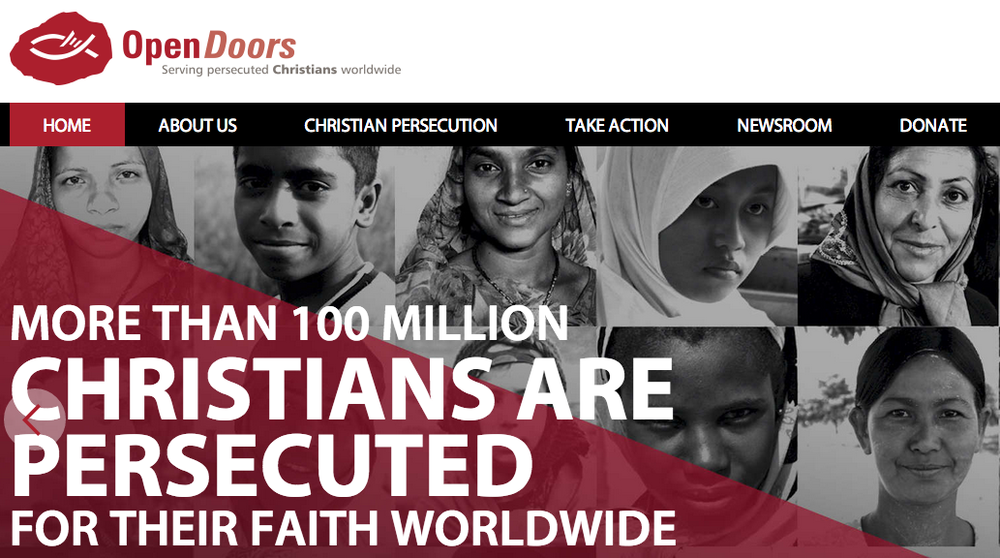The homepage of the Open Doors USA website. Credit: Opendoorsusa.org screenshot.