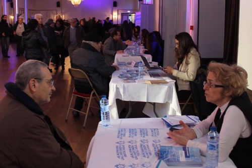 Click photo to download. Caption: An aliyah information fair hosted by The Jewish Agency for Israel on Jan. 11 in Paris, days after a series of terror attacks in that city. The fair was planned before the attacks took place. Credit: Eliaou Zenou for The Jewish Agency for Israel.
